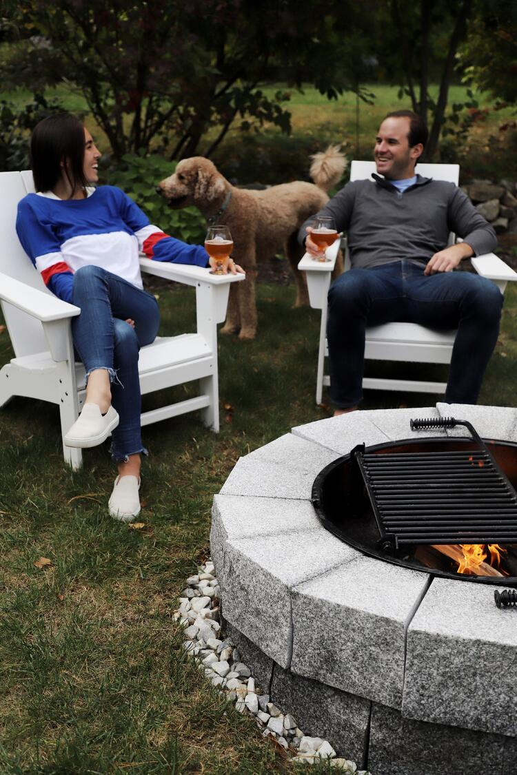 Swenson's DIY Woodbury Gray granite fire pit installed by Robbin Mangano of The New England Life