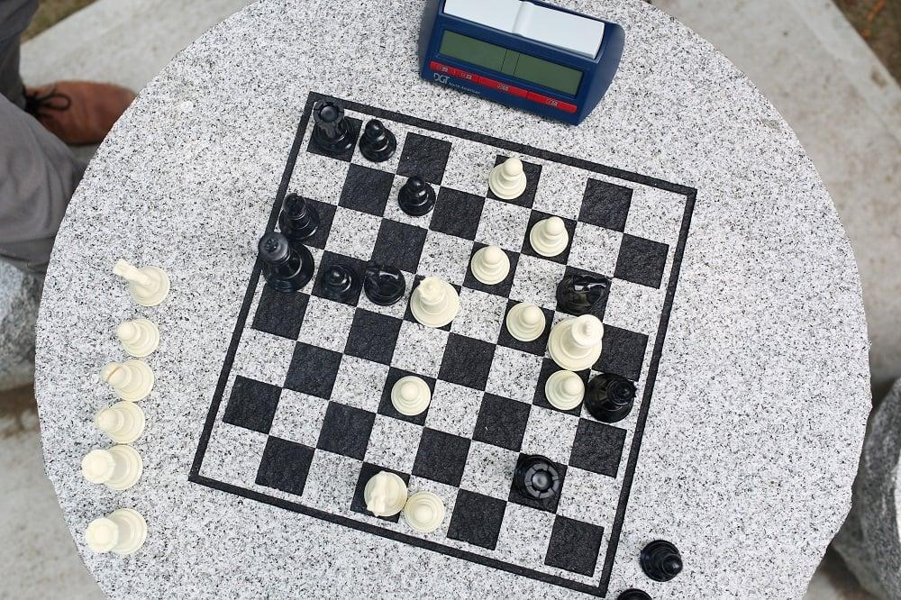 Swenson Granite Works Woodbury Gray granite chess table