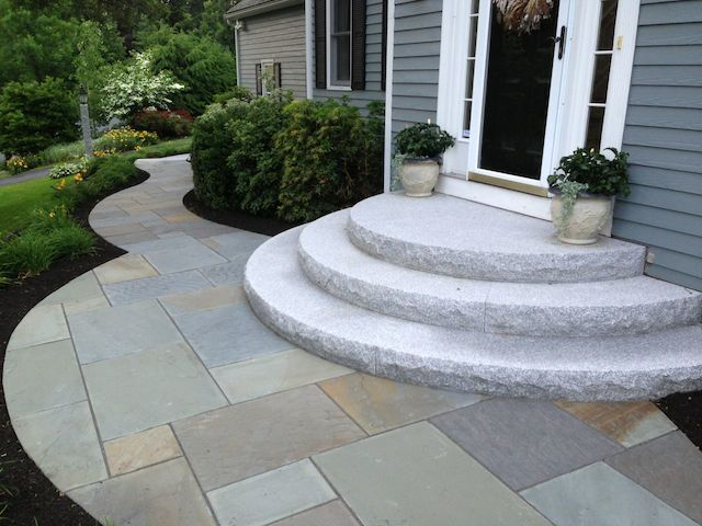 3 Kraus Radius Steps AfterSwenson Granite Works Woodbury Gray granite radius steps