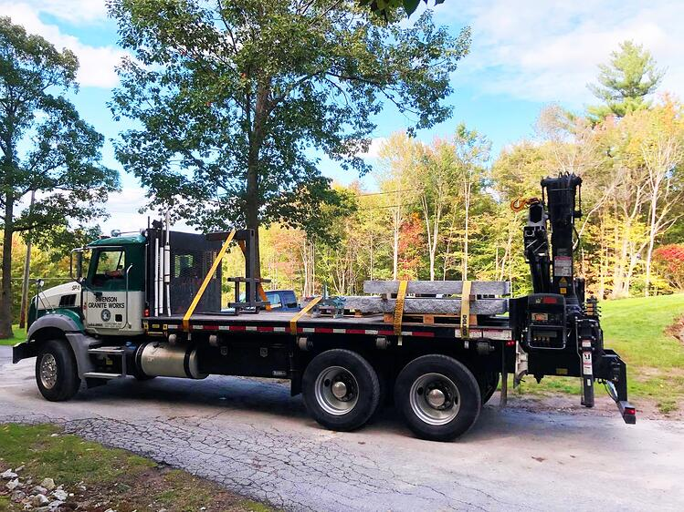Swenson Granite Works crane truck step installation