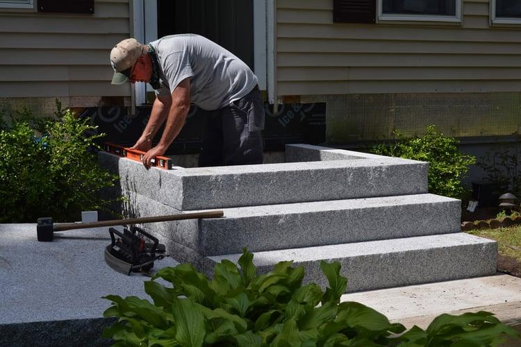 Swenson Granite Works Woodbury Gray granite steps installation