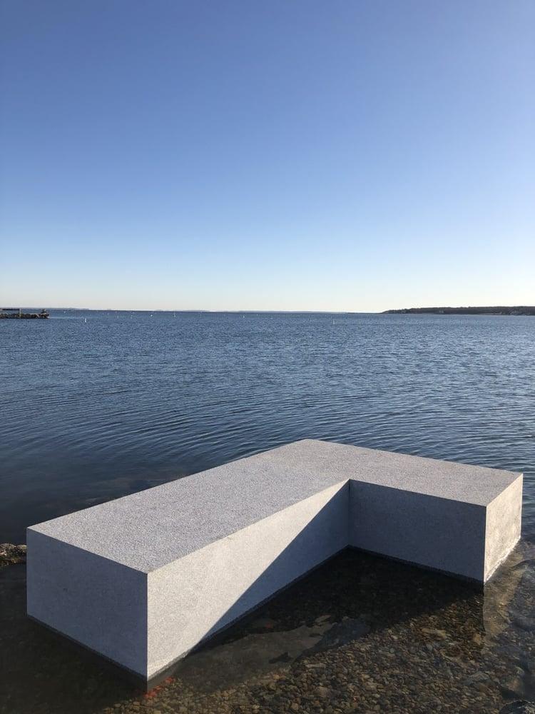 Woodbury Gray granite blocks for pier project in Mattapoisett, Massachusetts. Project by CF Briggs Marine Construction.