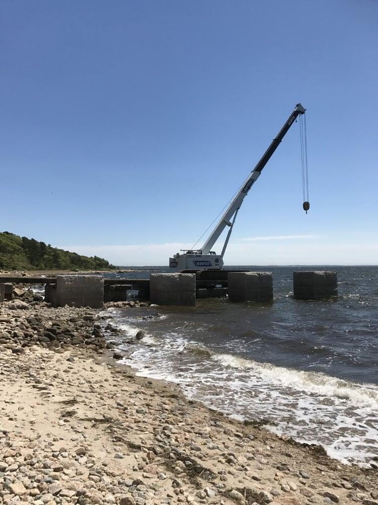 Granite pier project in Mattapoisett, Massachusetts. Project by CF Briggs Marine Construction.
