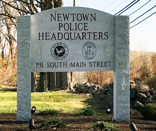 WOODBURY GRAY™ granite custom engraved sign at the Newtown Police Headquarters