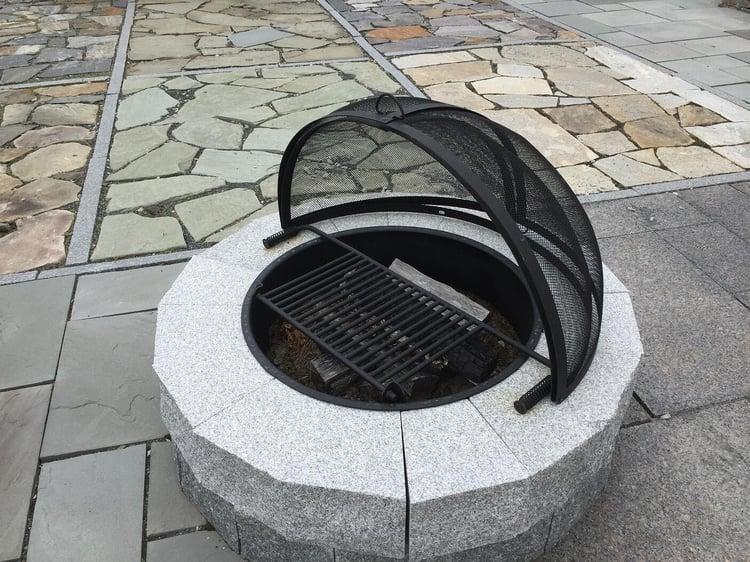 Swenson Granite Works DIY granite fire pit metal dome fire pit screen