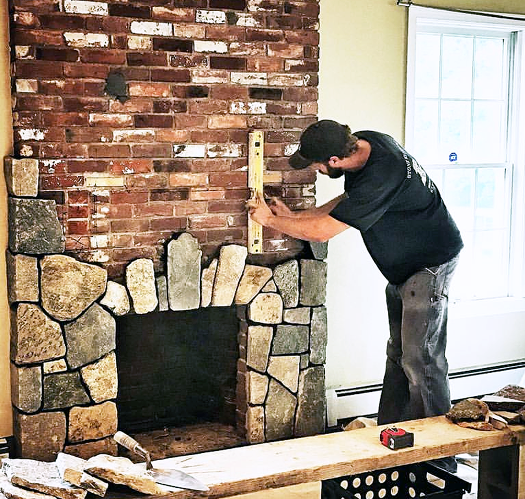 Fireplace With Thin Stone Veneer