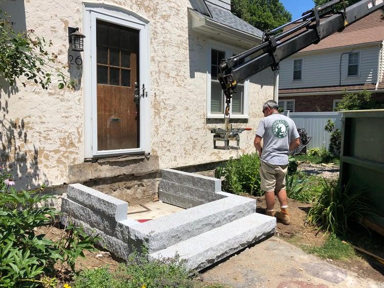 Installation of granite steps