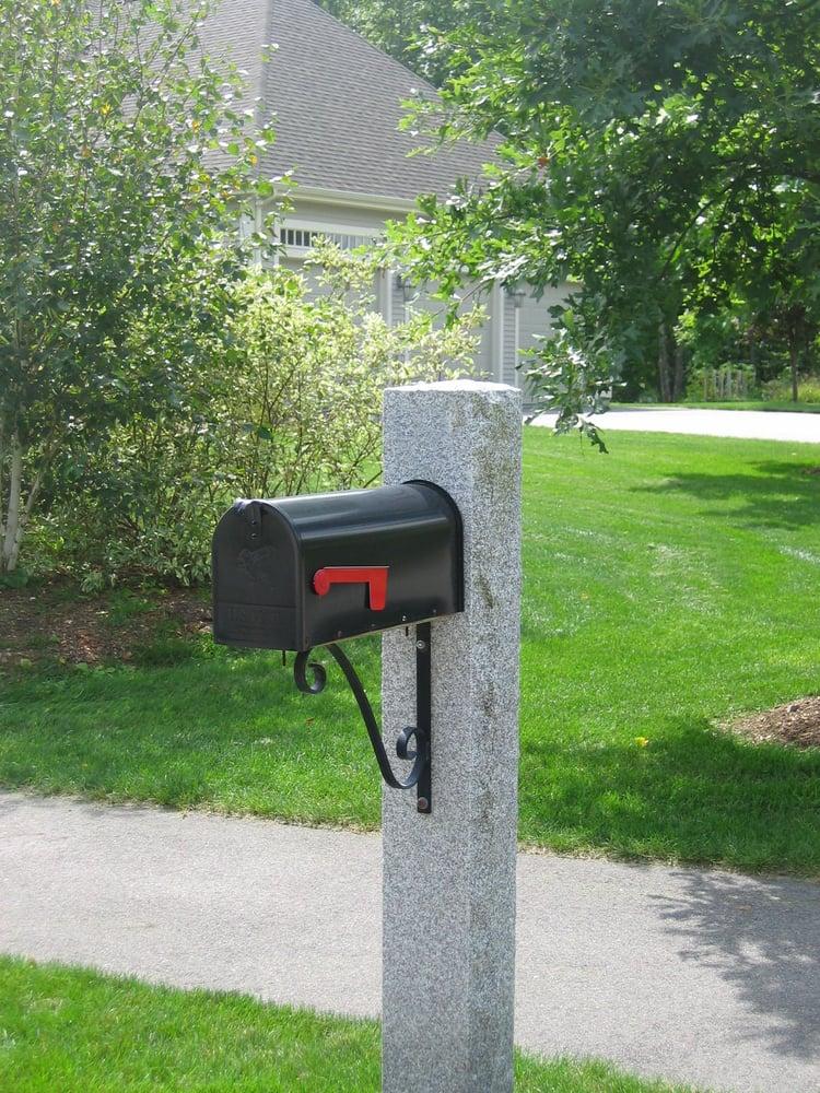 Swenson Granite Works Woodbury Gray granite mailbox post