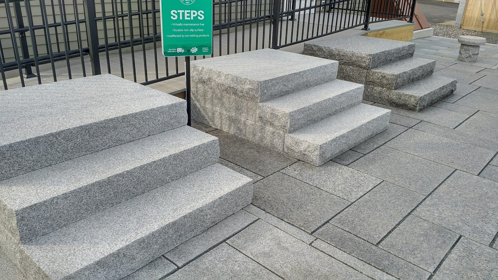 Woodbury Gray granite steps and pavers at the South Hadley store's outdoor display