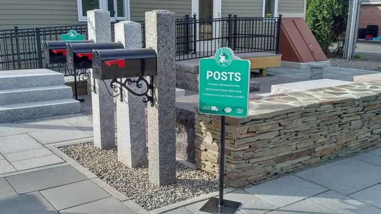 Woodbury Gray granite mailbox posts at the South Hadley store's outdoor display