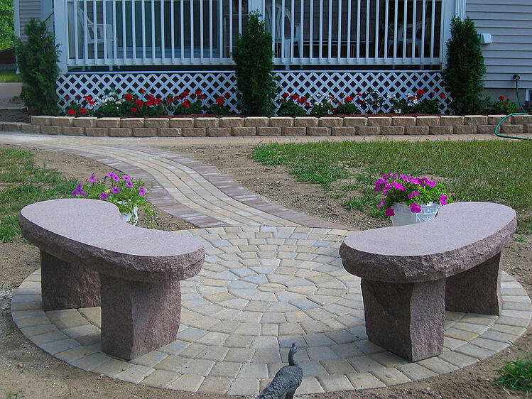 Autumn Pink granite benches from Swenson Granite Works