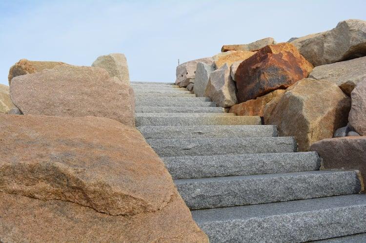 Woodbury Gray granite step staircase oceanfront beach house