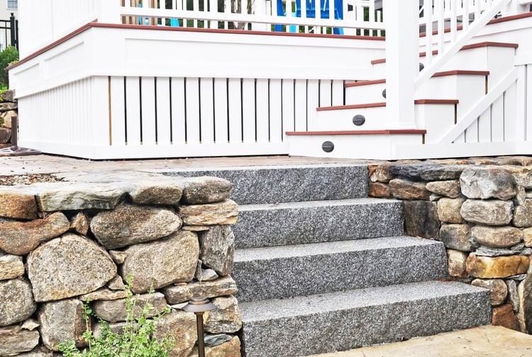 Woodbury Gray granite steps and New England style fieldstone coastal living