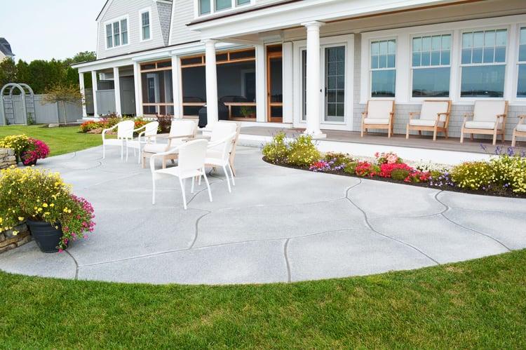 Custom-cut Woodbury Gray granite pavers beach house