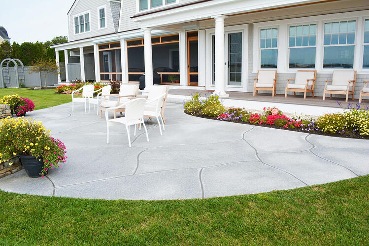 Custom-cut Woodbury Gray granite pavers beach house