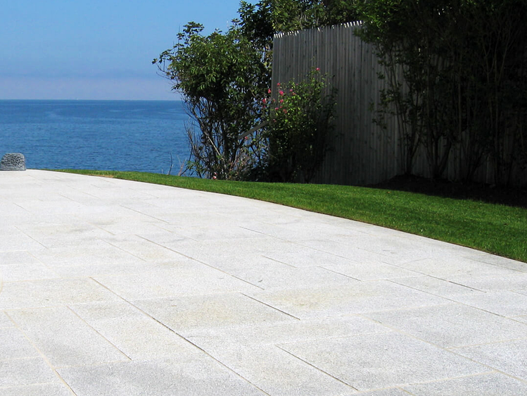 Woodbury Gray granite patio pavers coastal home