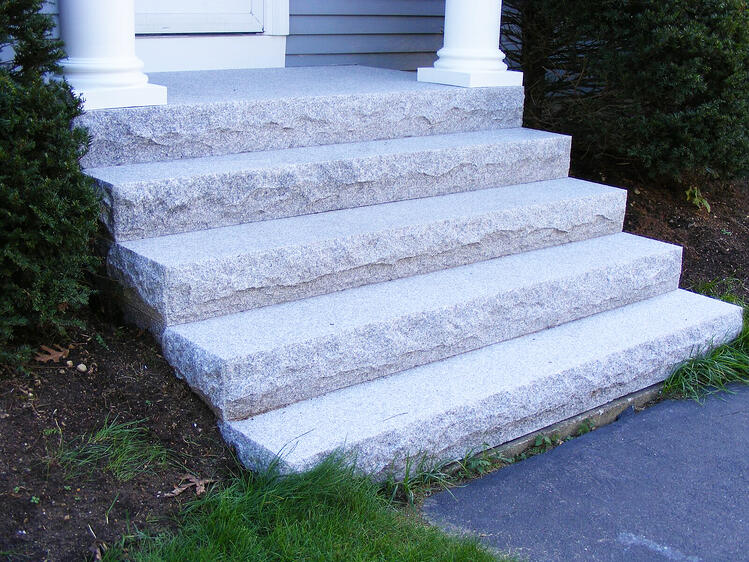 Woodbury Gray granite steps coastal living beach house