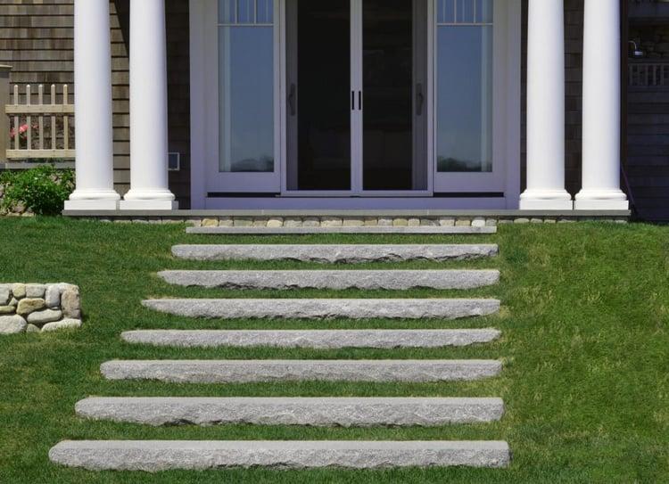 Woodbury Gray rock face granite steps coastal living beach house