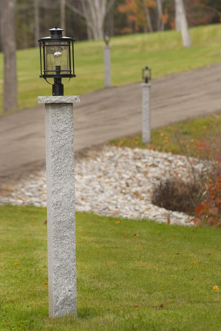 Swenson Granite Works Woodbury Gray granite lamp post and cap