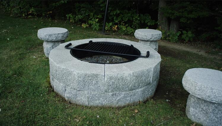 Swenson Granite Works DIY granite fire pit with lo-boy seats