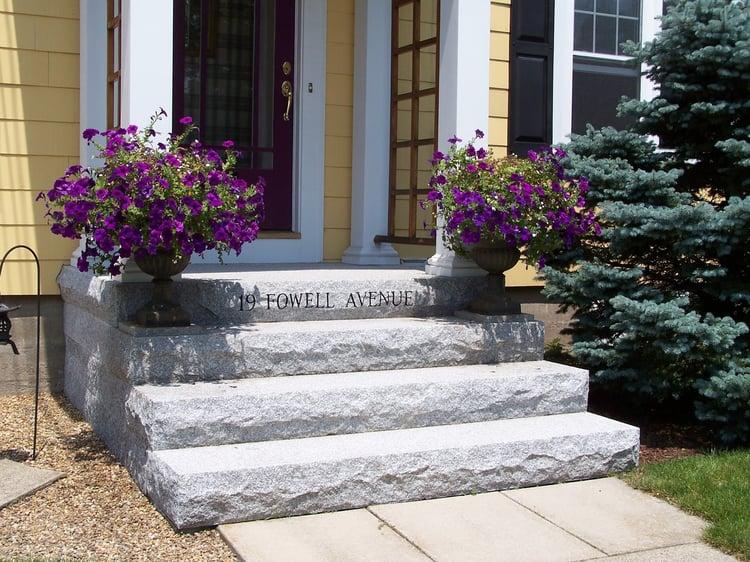Swenson Granite Works Woodbury Gray granite steps engraved