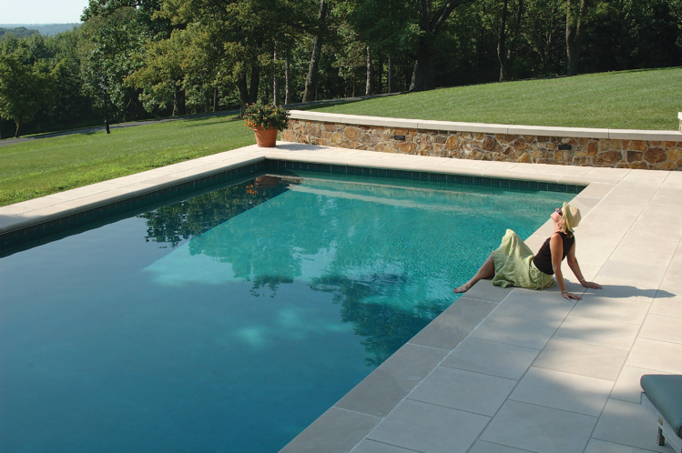 Indiana Limestone pool and patio.