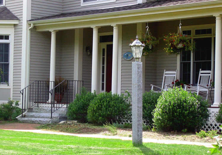 Front doorway lighting -- Woodbury Gray granite lamp post