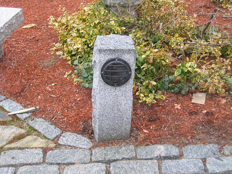 Woodbury Gray granite walkway lamp post