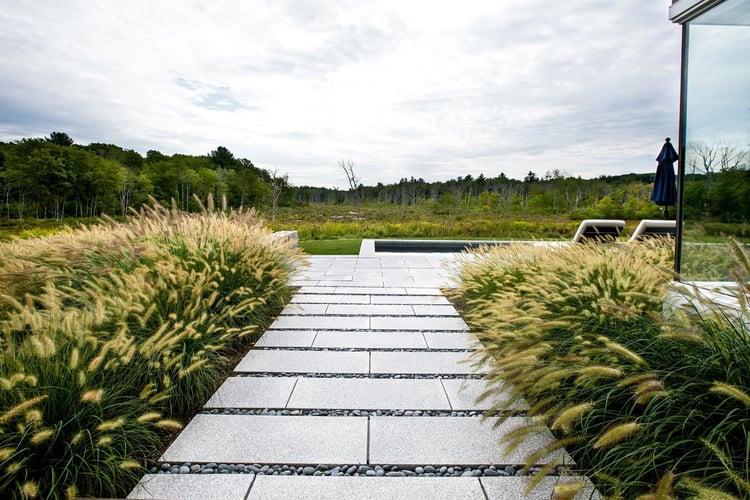 Andover contemporary minimalist landscape design with granite
