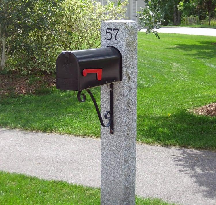 Swenson Granite Works Woodbury Gray granite mailbox post installation
