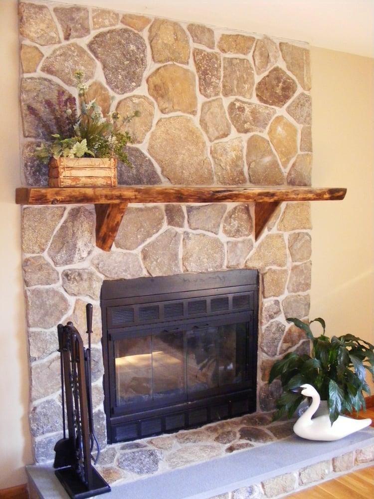 Indoor Fireplace Fieldstone Veneer Bluestone Hearth