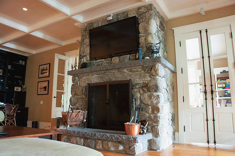 Indoor Fireplace Granite Hearth and Mantel