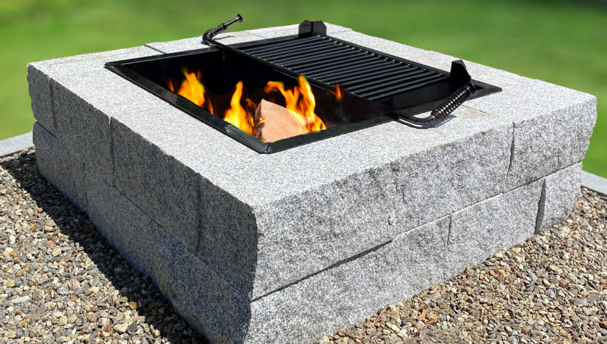 Swenson Introducing, The Sleek Square Fire Pit with cast iron cooking grate