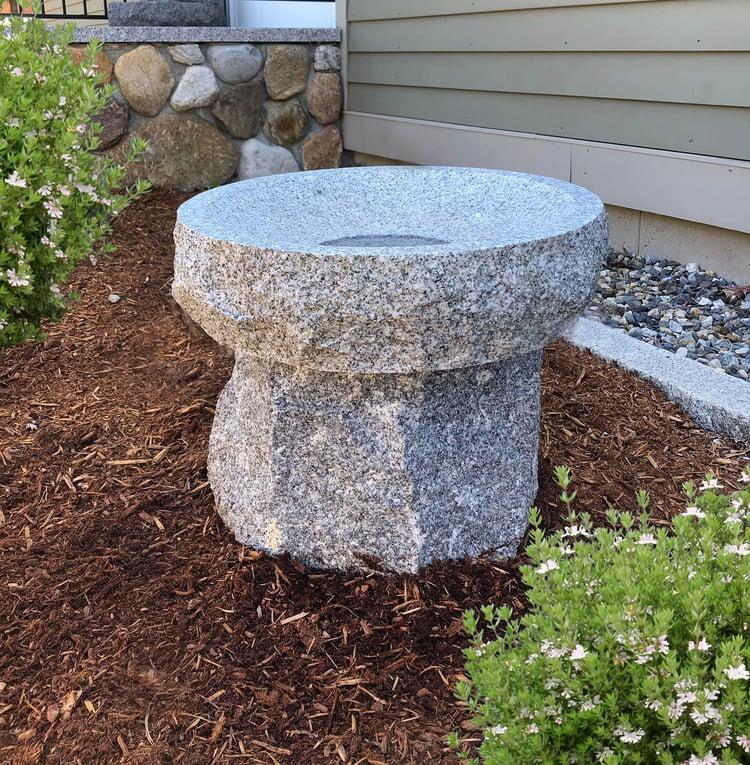 Woodbury Gray granite lo-boy bird bath