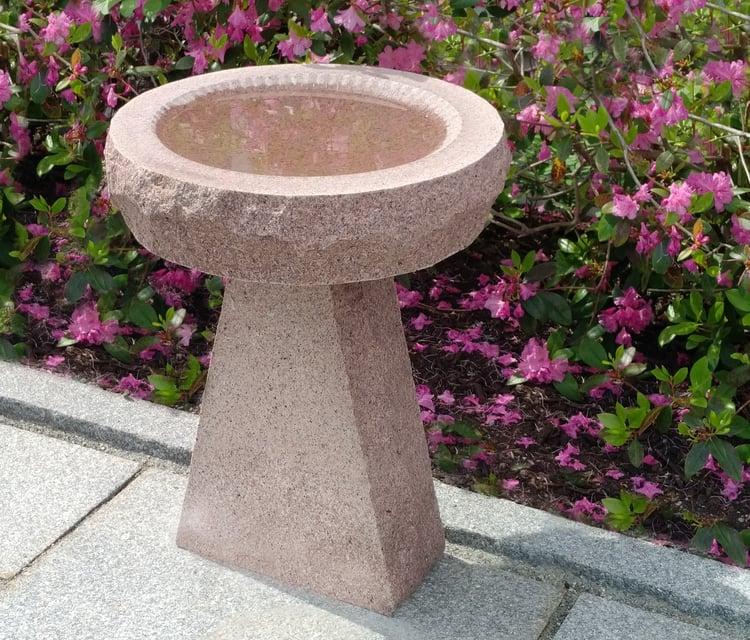 Autumn Pink granite standard apex bird bath