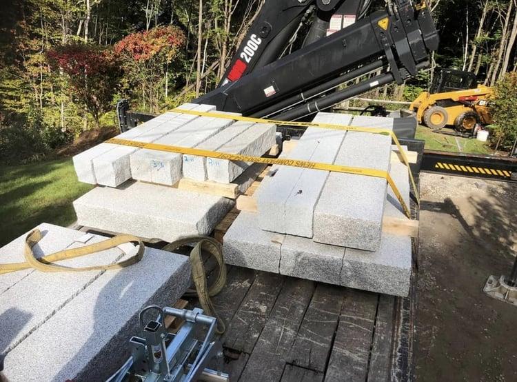 Granite steps delivery Swenson Granite Works truck