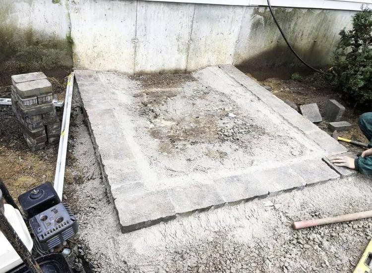 Woodbury Gray granite front steps installation
