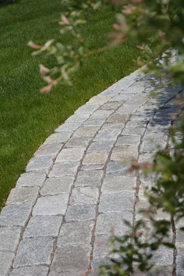 Gray cobblestone walkway