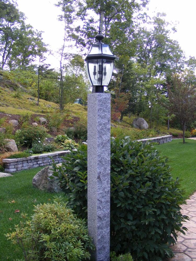 Woodbury Gray granite lamp post