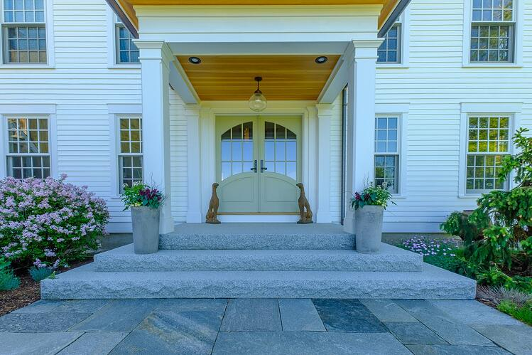 Swenson Woodbury Gray granite steps - Project by Pellettieri Associates, Inc.
