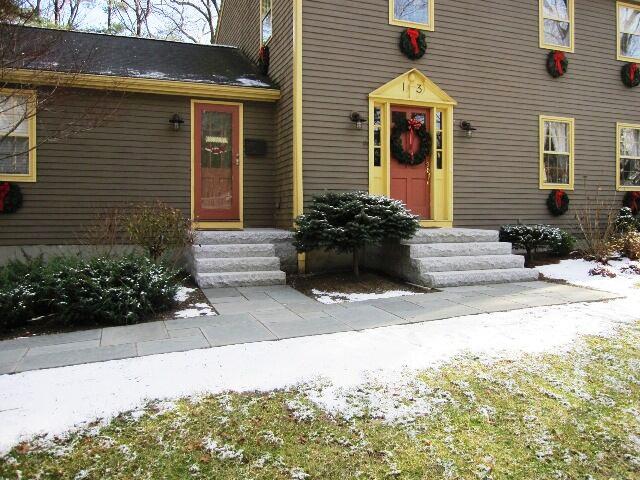 Woodbury Gray granite steps bluestone walkway - Natural Path Landscaping