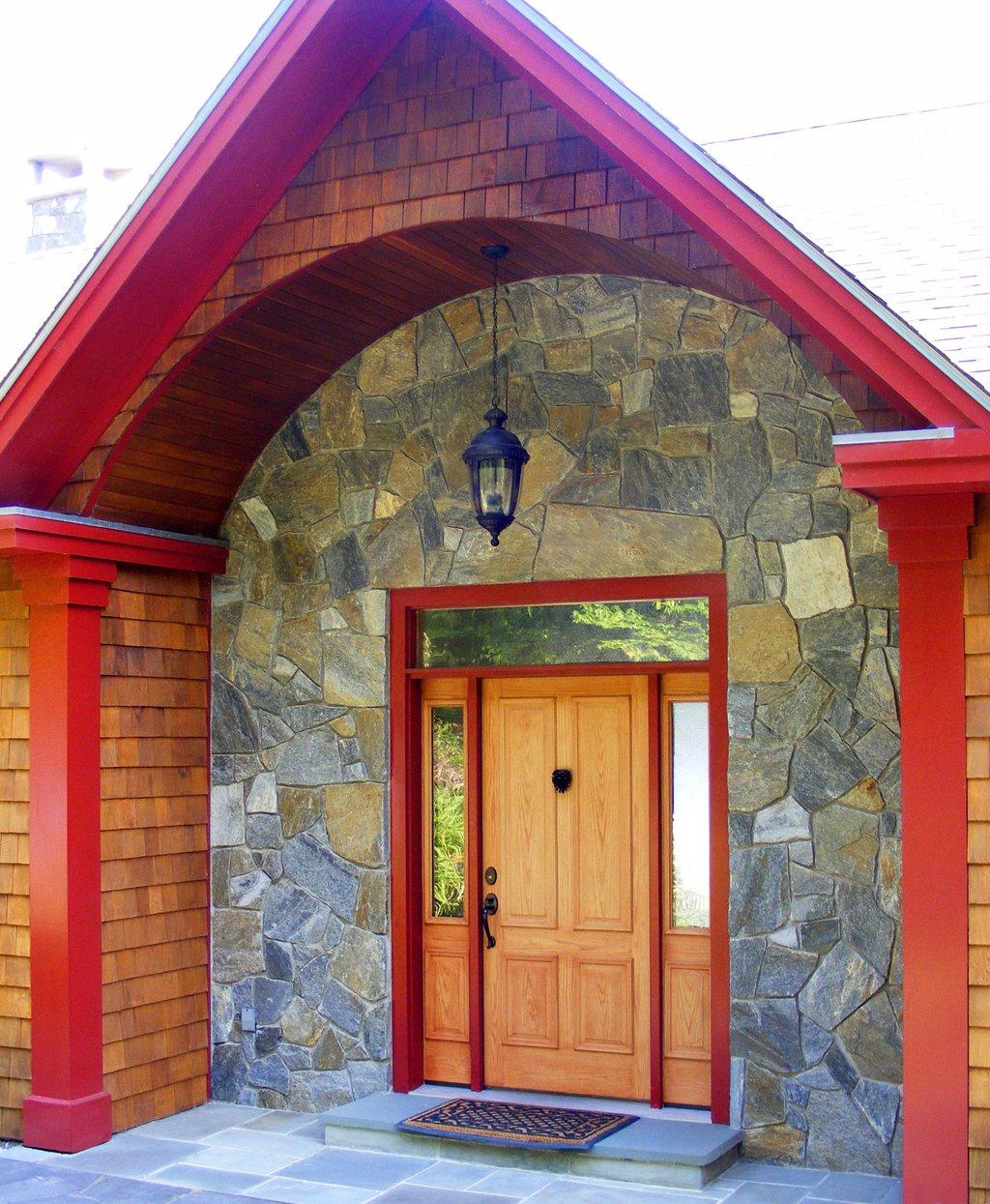 Stone veneer on home exterior entranceway