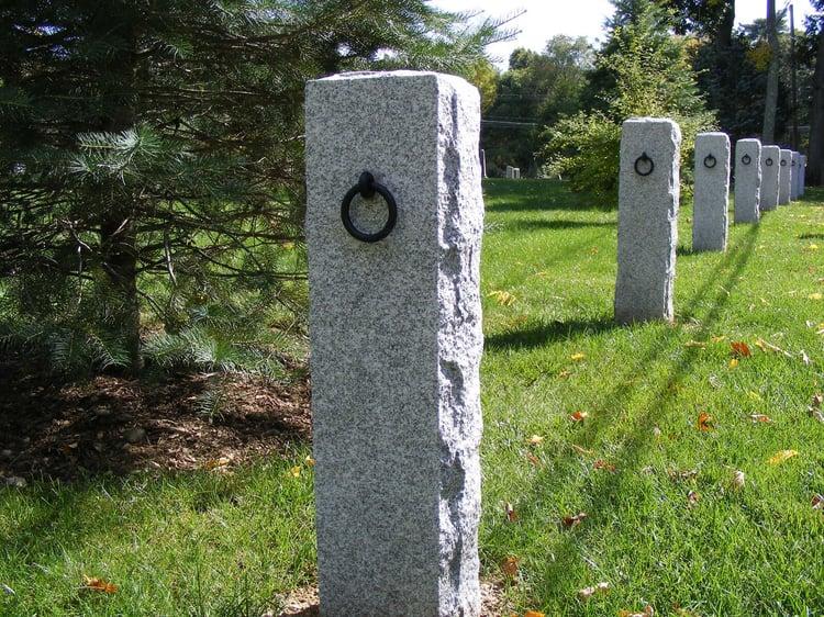 Woodbury Gray Granite hitching posts