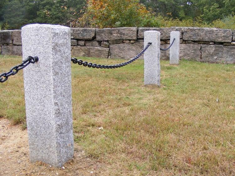 Memorial garden Woodbury Gray Granite hitching posts