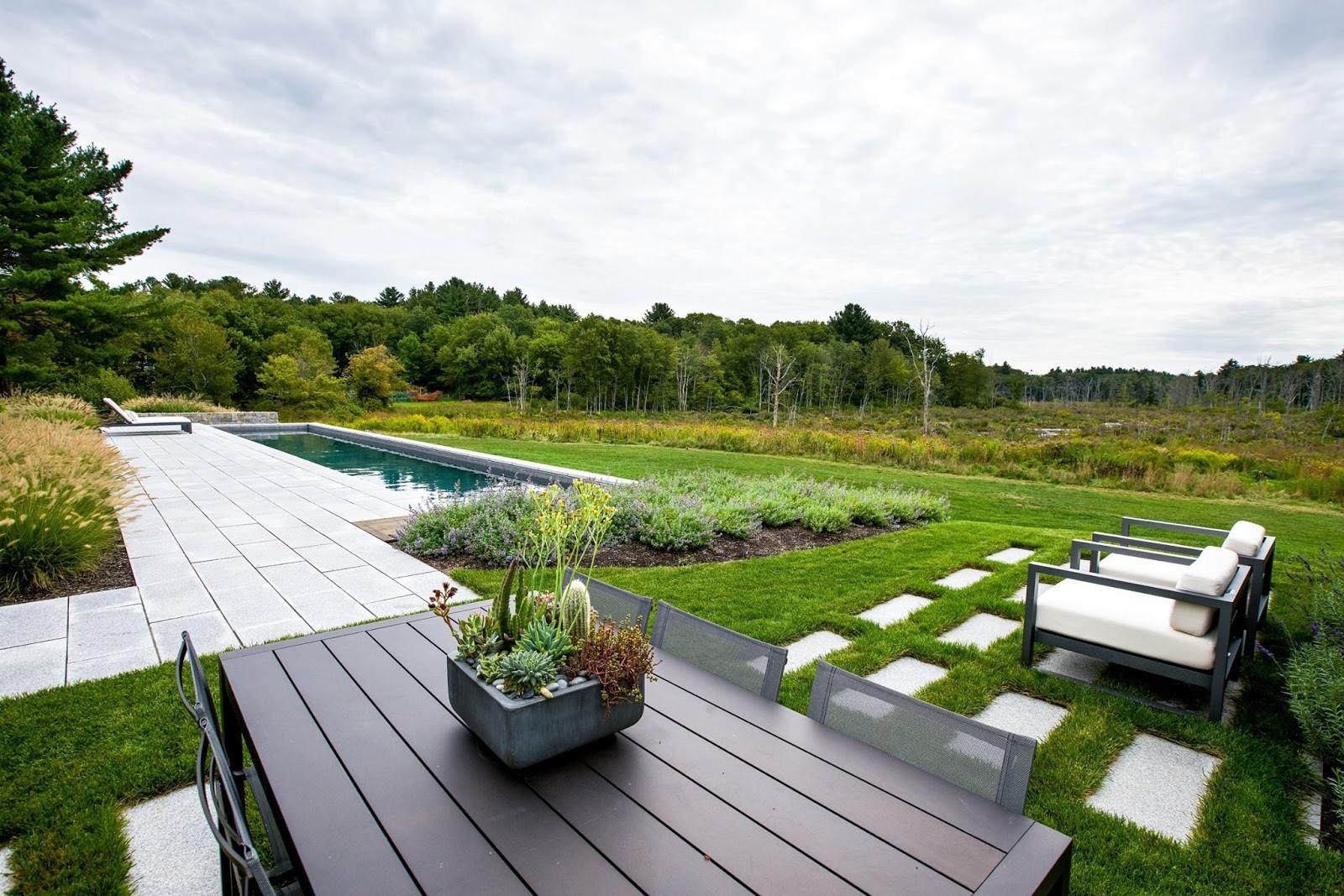 Woodbury Gray granite pavers, contemporary patio