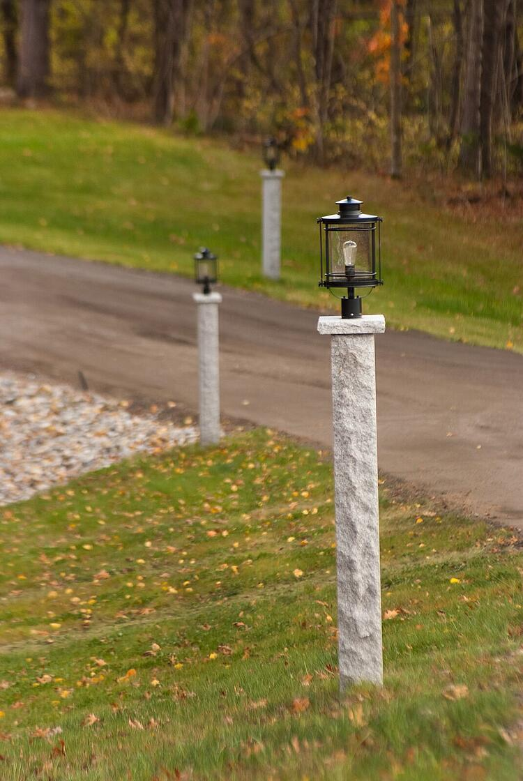 Granite Lamp Posts Light the Driveway