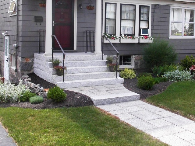 Woodbury Gray granite steps and Caledonia walkway - Natural Path Landscaping