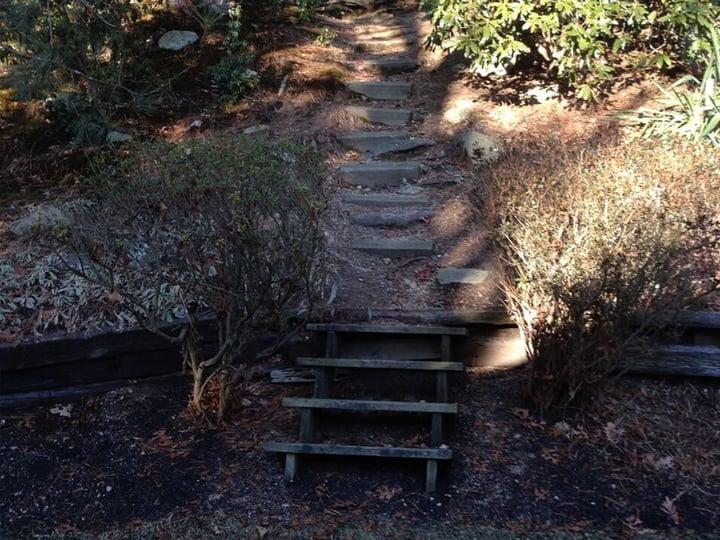 Wood embankment steps before