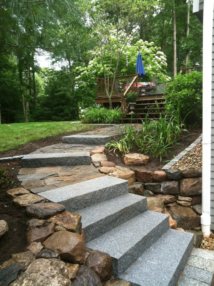 Rustic walkway from driveway to deck -  Natural Path Landscaping