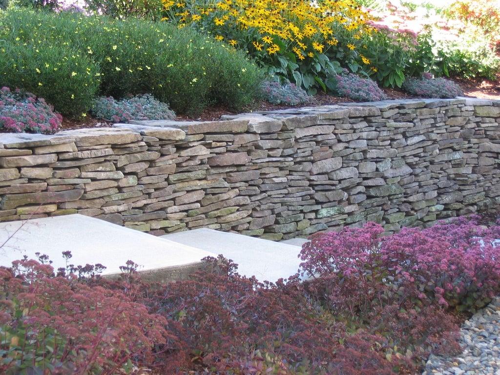 Thin Weathered Fieldstone Retaining Wall